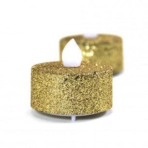 24 Gold Glitter Tealight Candles