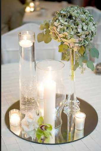 6 Round Centerpiece Mirrors Wedding Decorations