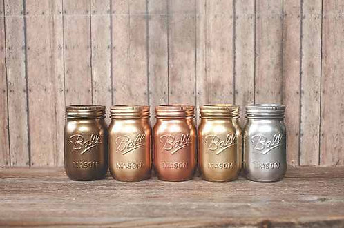 10 Pint Size Mettalic colored Mason Jars