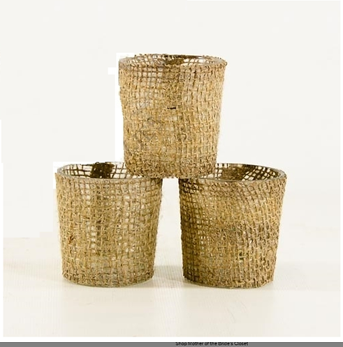 Burlap Candle Holders 6 pack