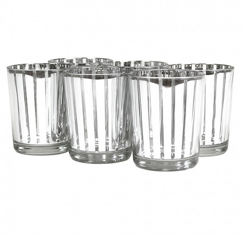 Silver Striped Votives 6 Pack wedding decorations