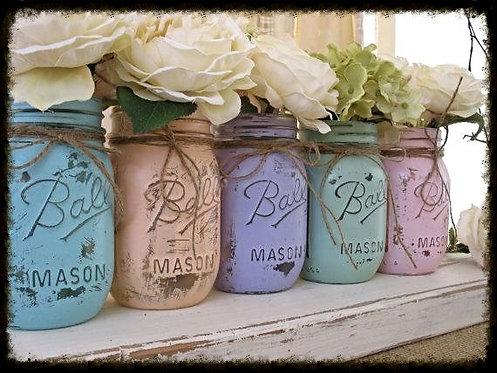 10 Pint Size colored Mason Jars
