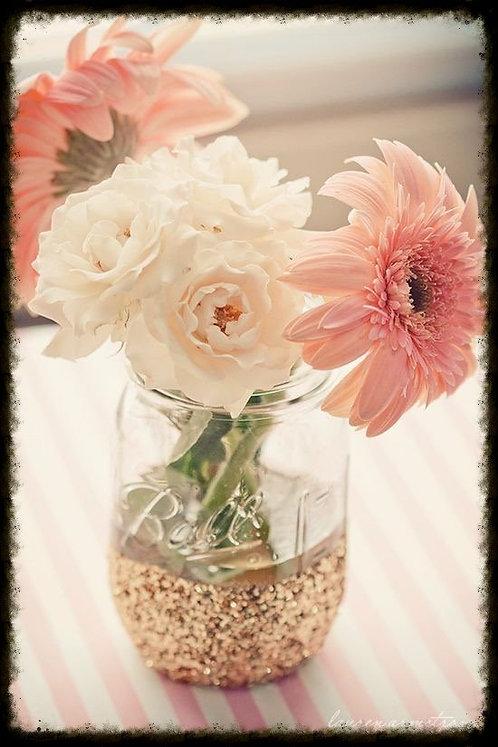 Pint size glitter dipped mason jars