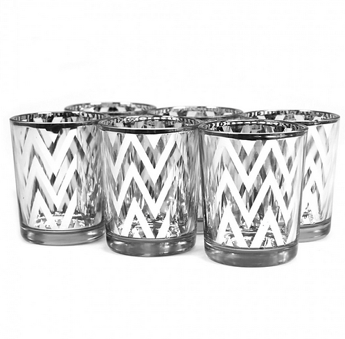 Silver Chevron candle holders 6 pack