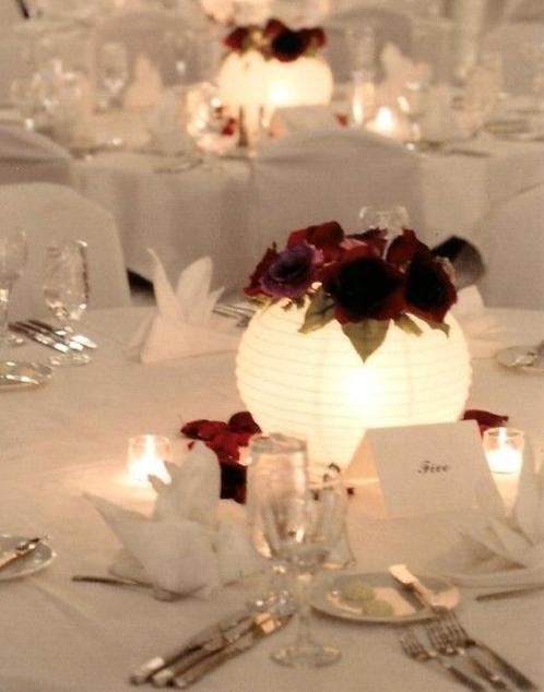 10-white lanterns with votive holder
