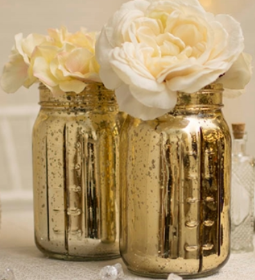 Gold Mercury mason jar 6 Pack