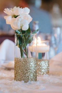 Dipped Glitter Vase