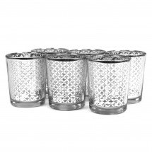 6-pack silver modern candle holders