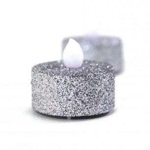 24 Silver Glitter Tealight Candles