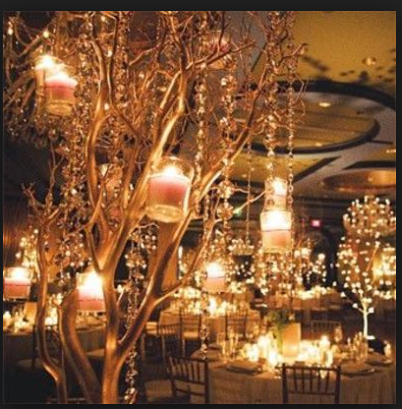 Glitter Manzanita Trees with  Beaded Garland