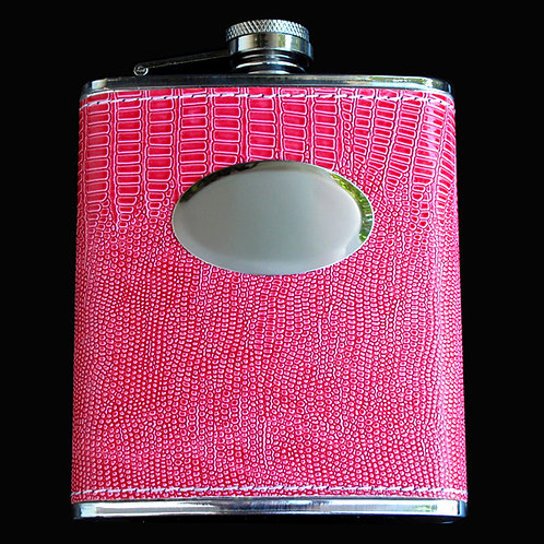 Pink Leather Flask 7 oz