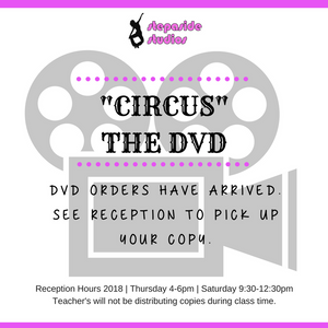 Come up to the studio during reception open hours to collect your DVD order.