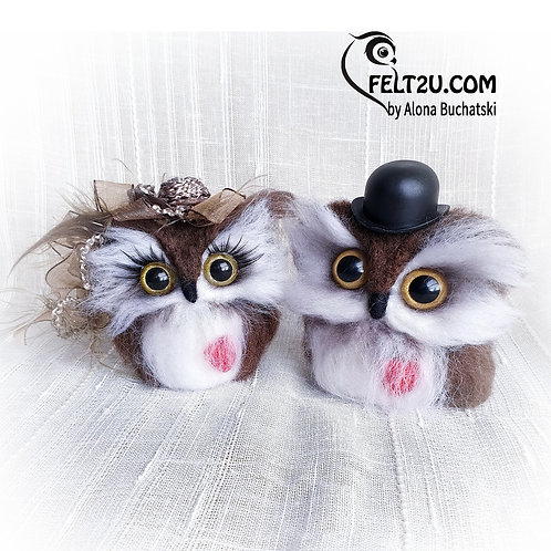 Loving couple of Owls Felted wool gift / Collectible handmade