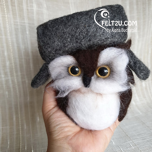 OOAK Owl with Hat Felted wool