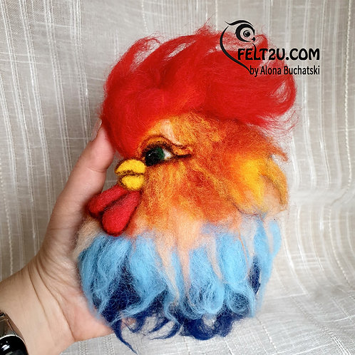 Rooster Felted wool Collectible handmade figure