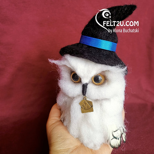 Owls Hedwig Felted wool gift / Collectible handmade