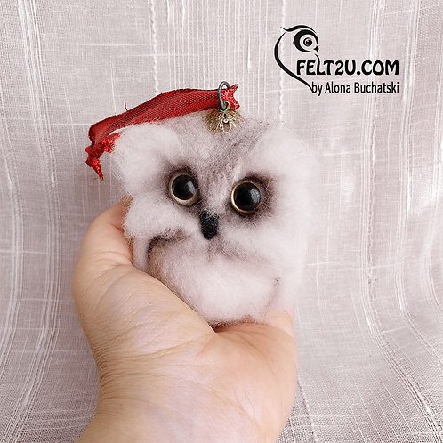 Owl Felted wool gift / Collectible handmade figure