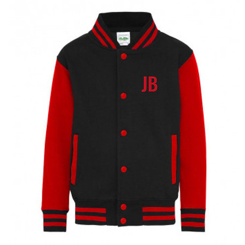 Personalised Varsity Zip Sweat Red & Black