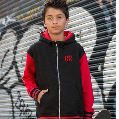 Personalised Varsity Hoodie Red & Black