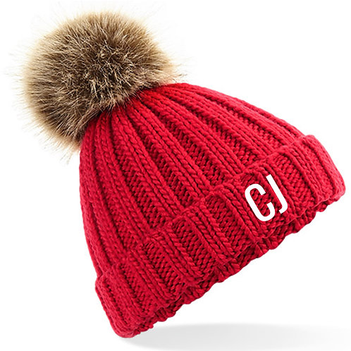 Personalised Bobble Hat Red