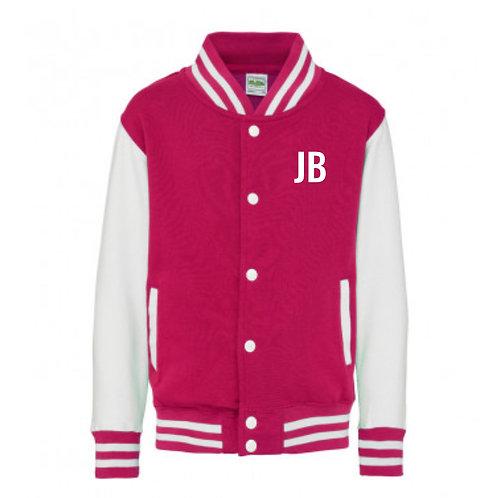 Personalised Varsity Zip Sweat White & Pink