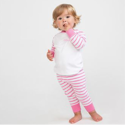 Pink Striped Personalised Pyjamas