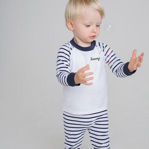 Navy Striped Personalised Pyjamas