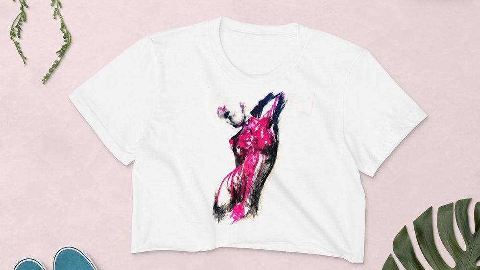 Stroke Piece #1 Art (white & pink) Crop Top