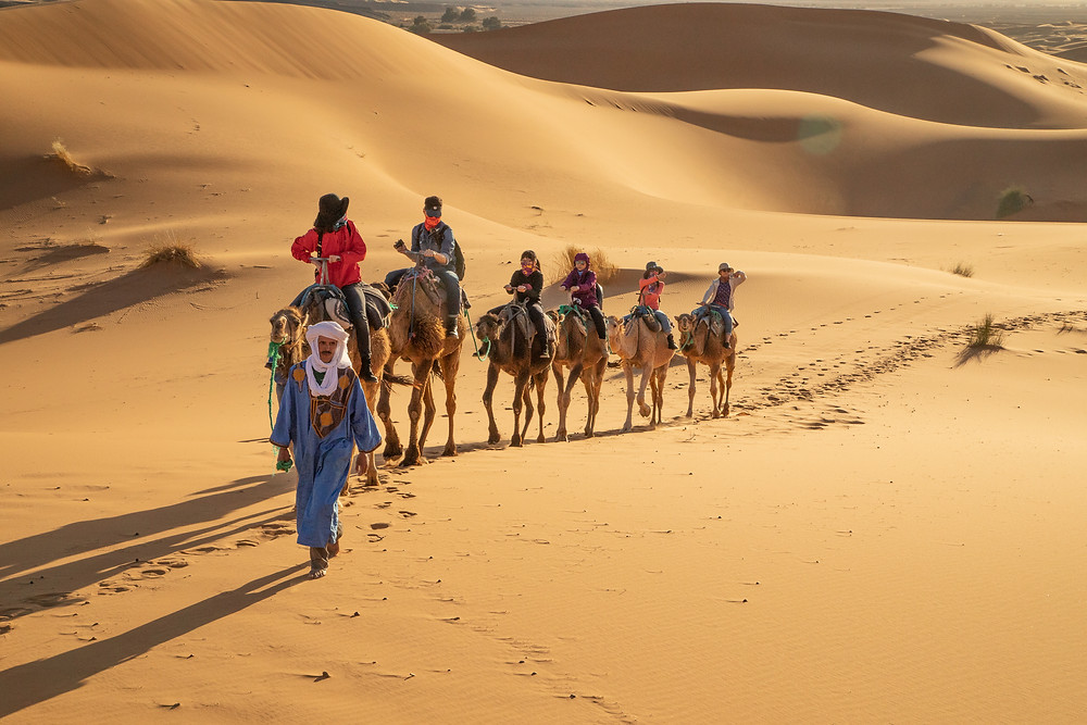 Exotic Cultural Honeymoon Destinations - Morocco camel ride in the desert