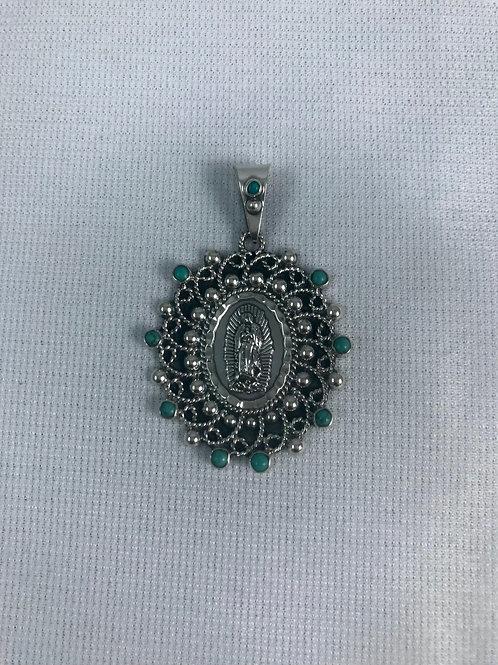 Medalla Virgen Casquilla Plata Sterling .925