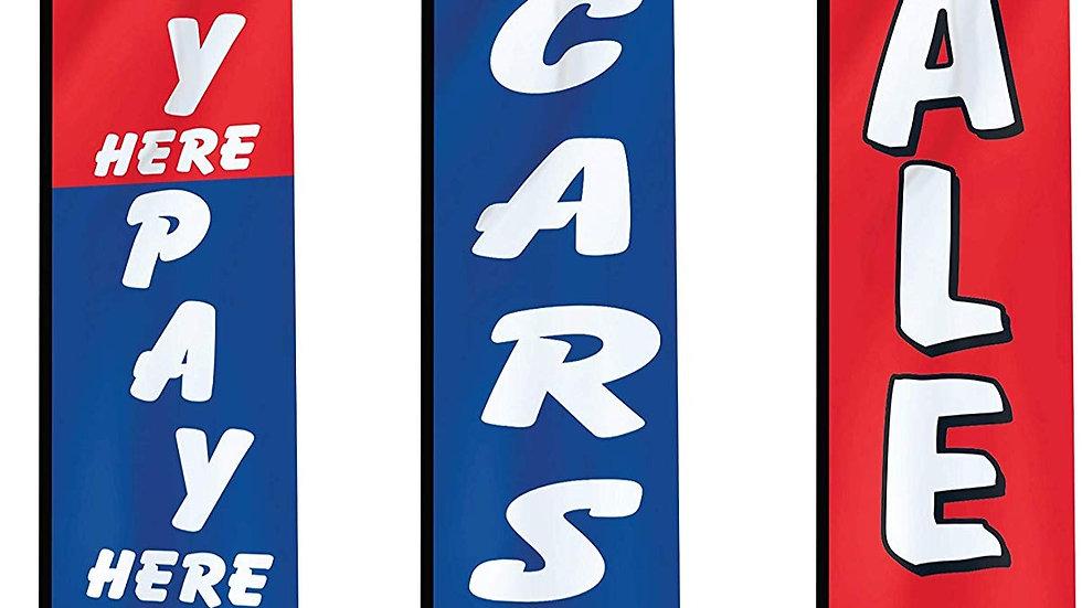 EZ Line Used Car Dealership Carlot Swooper Feather Flag Dealer 3 Flag Kit