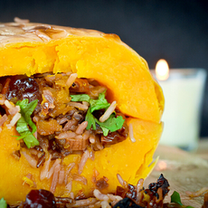 Baked Squash with Rice Pilaf