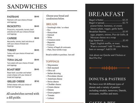 Stonehouse Bakery & Cafe Menu