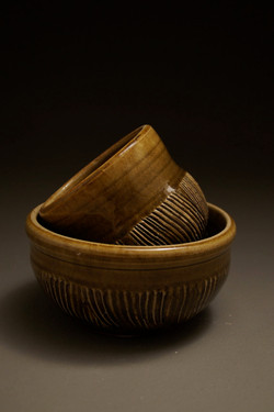 Cup and Bowl Set, Ribbed