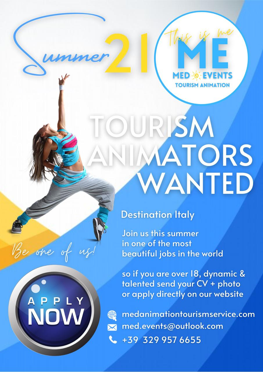 Vuoi lavorare nel'animazione turistica presso villaggi e resorts in Italia e al estero? Inviare il curriculum con foto e diventa uno di noi!