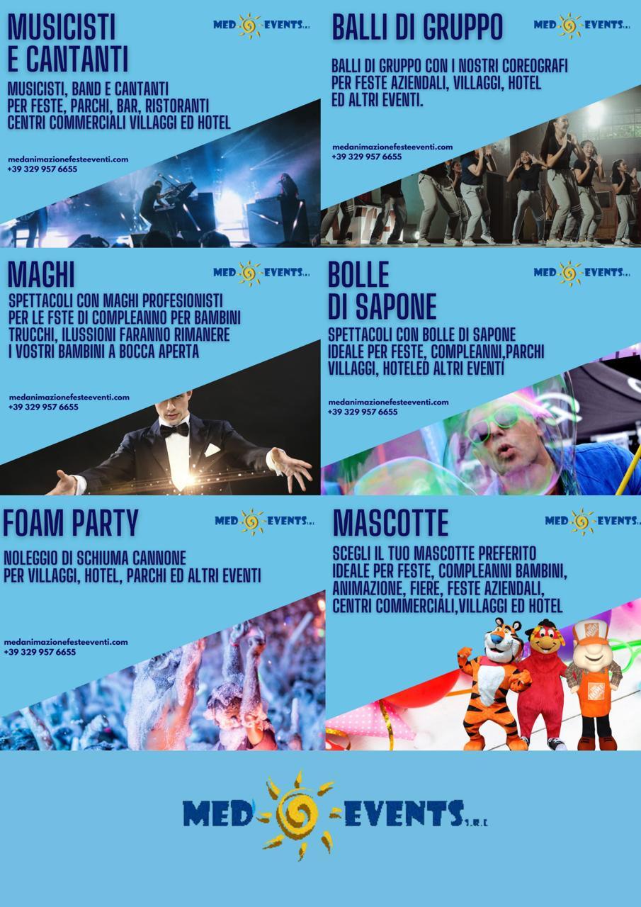 Med Events fornisce un servizio di intrattenimento per tutti i tipologie di feste ed eventi.