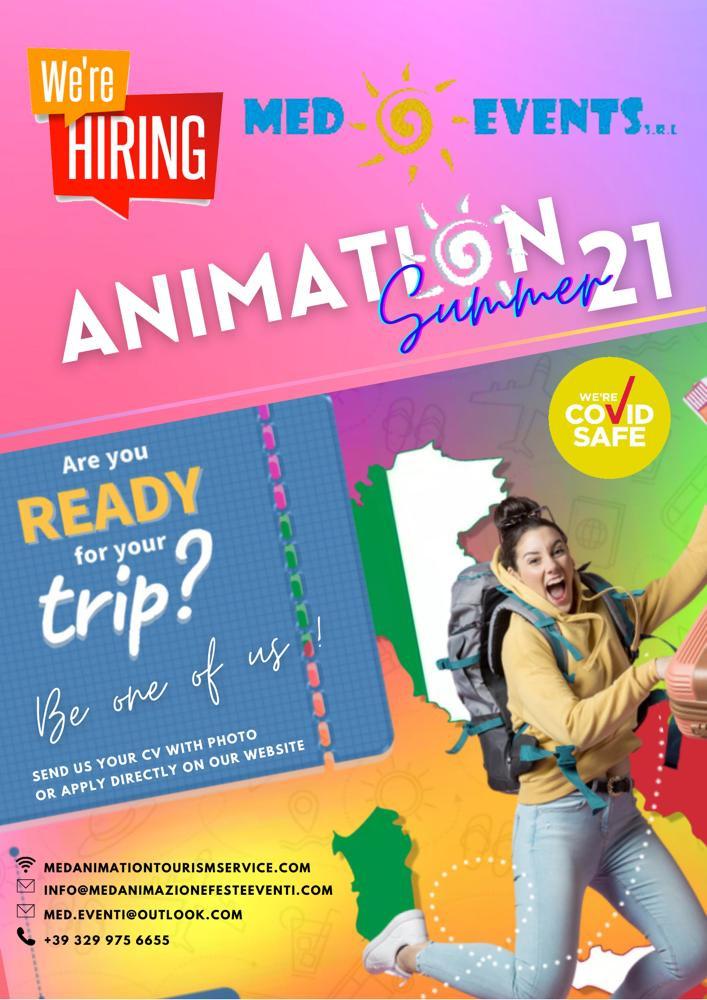 Cerchiamo animatori turistici in tutti i ruoli per le stagione estive e invernale 2021 in Italia.