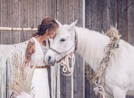 Rustikale Vintage Scheunenhochzeit trifft auf Mädchentraum - Bridal Editorial mit Hund und Pferd