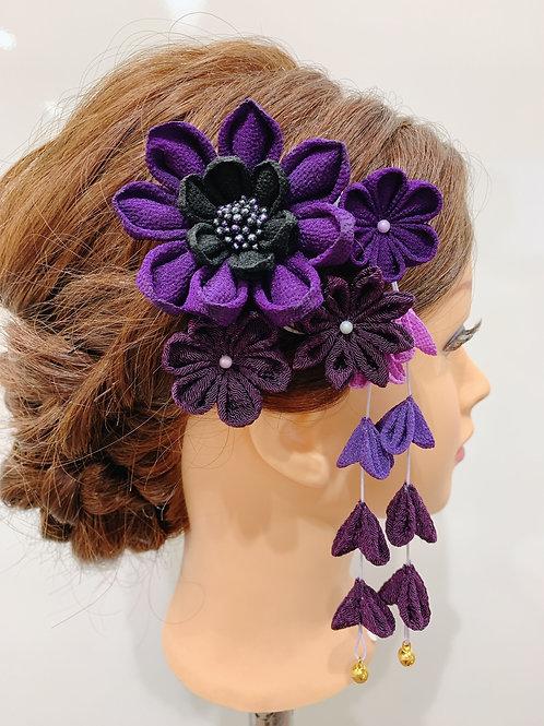 ちりめん細工 髪飾り 紫