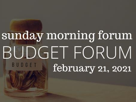 2021 Budget Forum