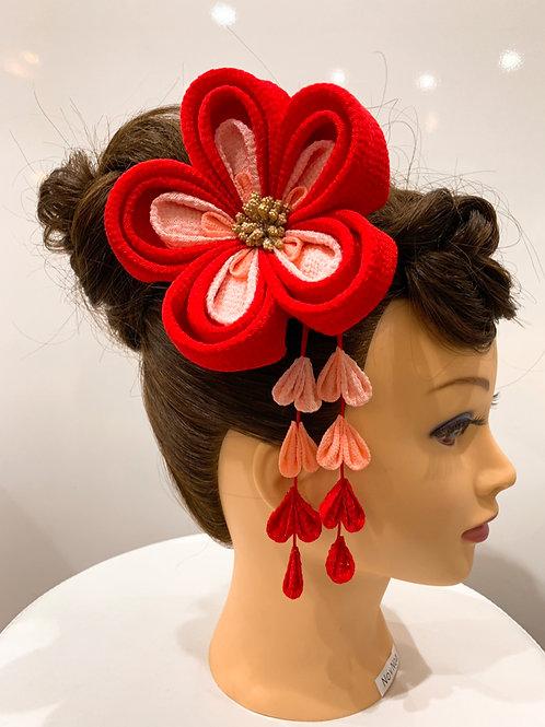 ちりめん髪飾り 赤系グラデーション 大輪 さがり付き