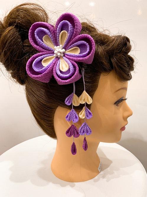 ちりめん髪飾り パープルグラデーション 大輪さがり付き