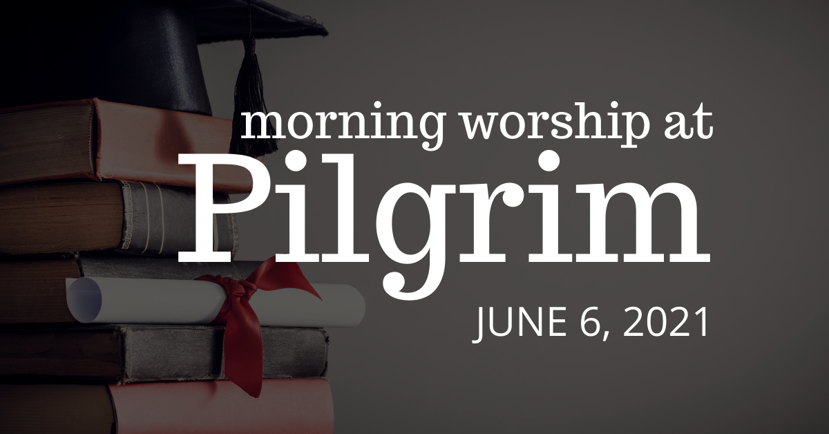 pile of textbooks with graduation cap and diploma on top - outdoor worship with communion on June 6, 2021