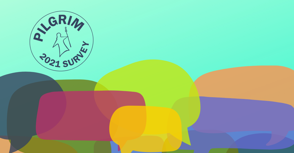 CAT Survey Image - multi-colored speech bubbles piled haphazardly over green background - forum on July 11