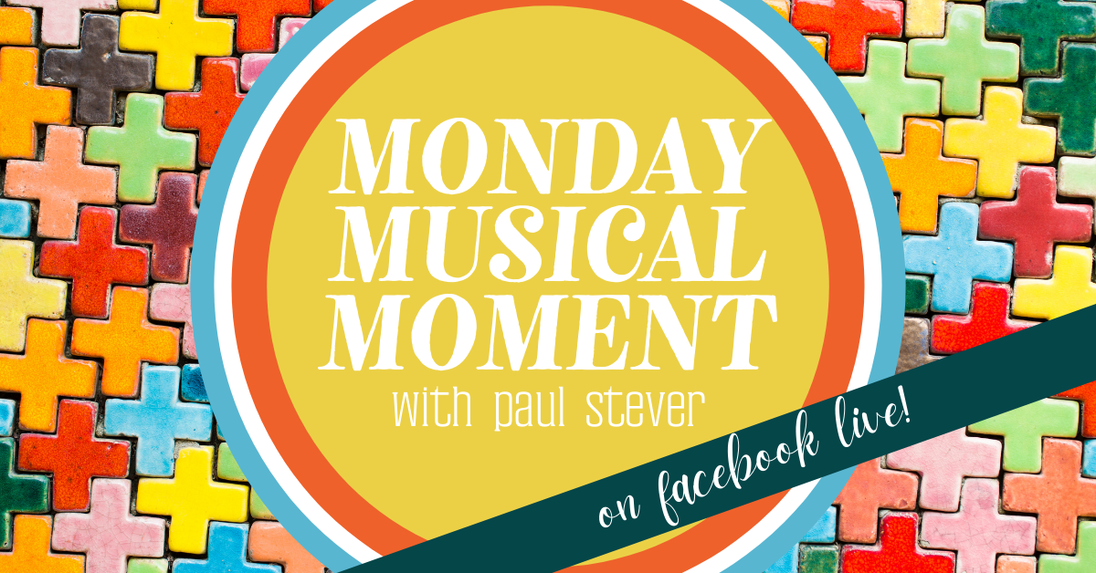 Monday Musical Moments on FB Live - white text in yellow circle, surrounded by puzzle pieces