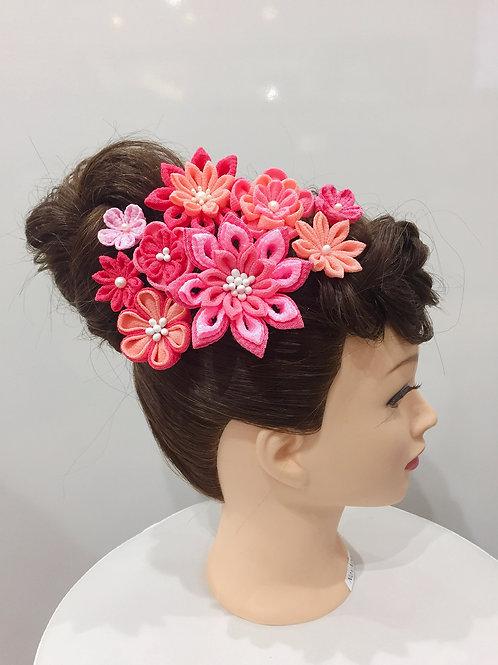 ちりめん髪飾り ピンク系グラデーション