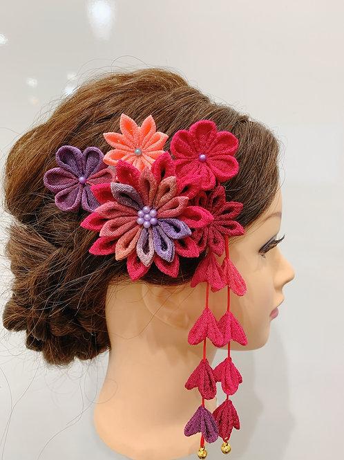 ちりめん細工 髪飾り ピンク系ミックス