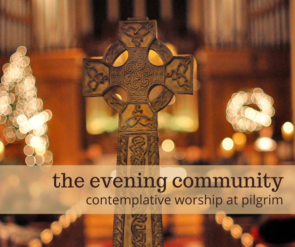 evening community email, celtic cross in Pilgrim's sanctuary