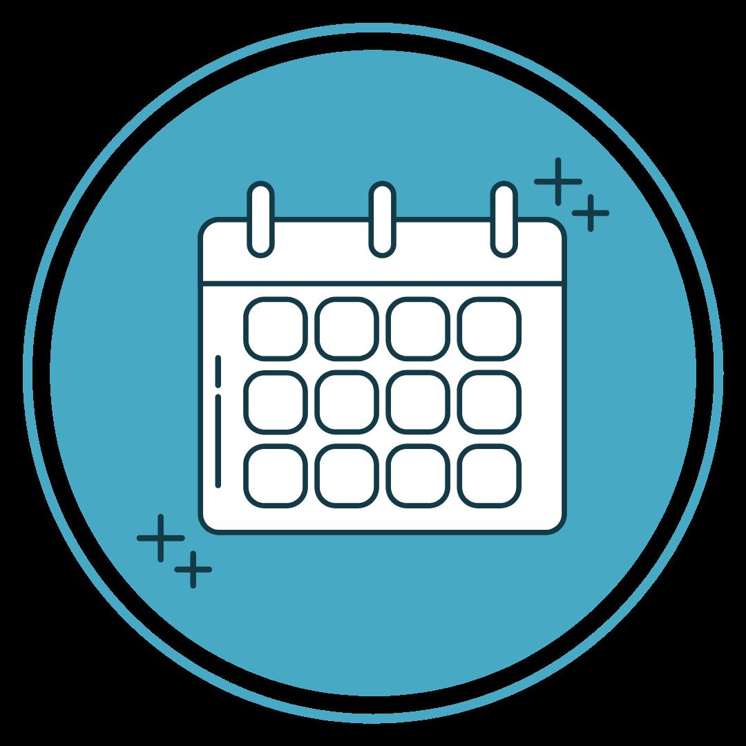 white calendar icon on blue circle