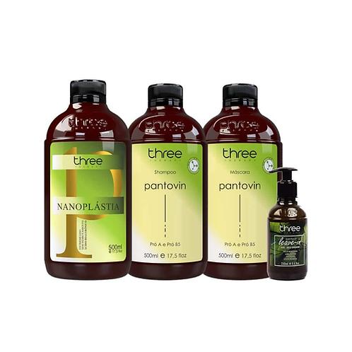 NANOPLASTIA 500ml + TRIO PANTOVIN (Shampoo, máscara e leave-in Vegan )